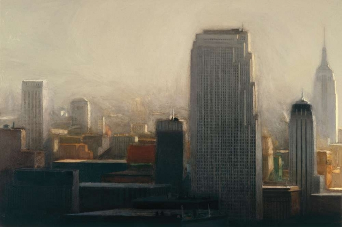 "City at Mid-day, 48"" x 72"", oil on canvas, 1984"