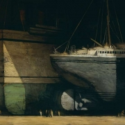 """City of Ships, 54"""" x 96"""", oil on canvas, 1998"""