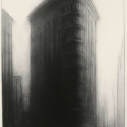 "Columbus Avenue, 37"" x 27"", charcoal on paper, 1987"