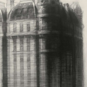 "Cornerstone, 36"" x 24"", charcoal on paper, 1992"