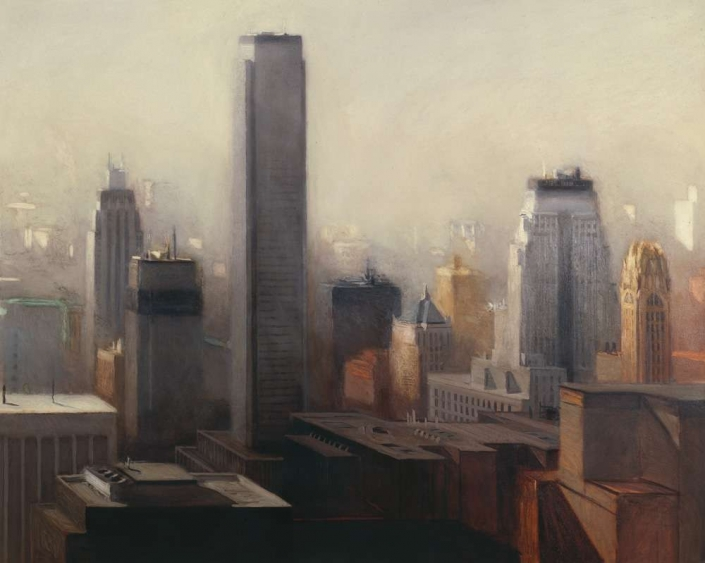 "Eastern City, 50"" x 70"", oil on canvas, 1984"