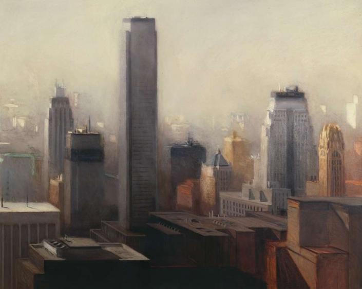 "Eastern City, 50"" x 70"", oil on canvas, 1984"