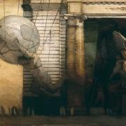 """Exodus, 54"""" x 84"""", oil on canvas, 1999"""