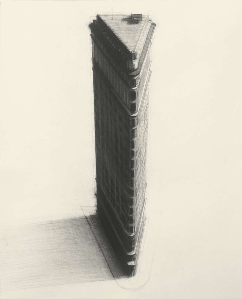 "Flatiron, 32"" x 23"", charcoal on paper, 1983"