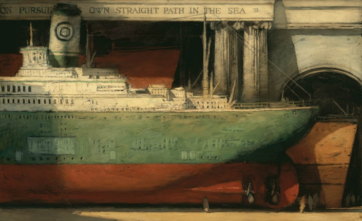 "Freighters, 44"" x 72"", oil on canvas, 1996"