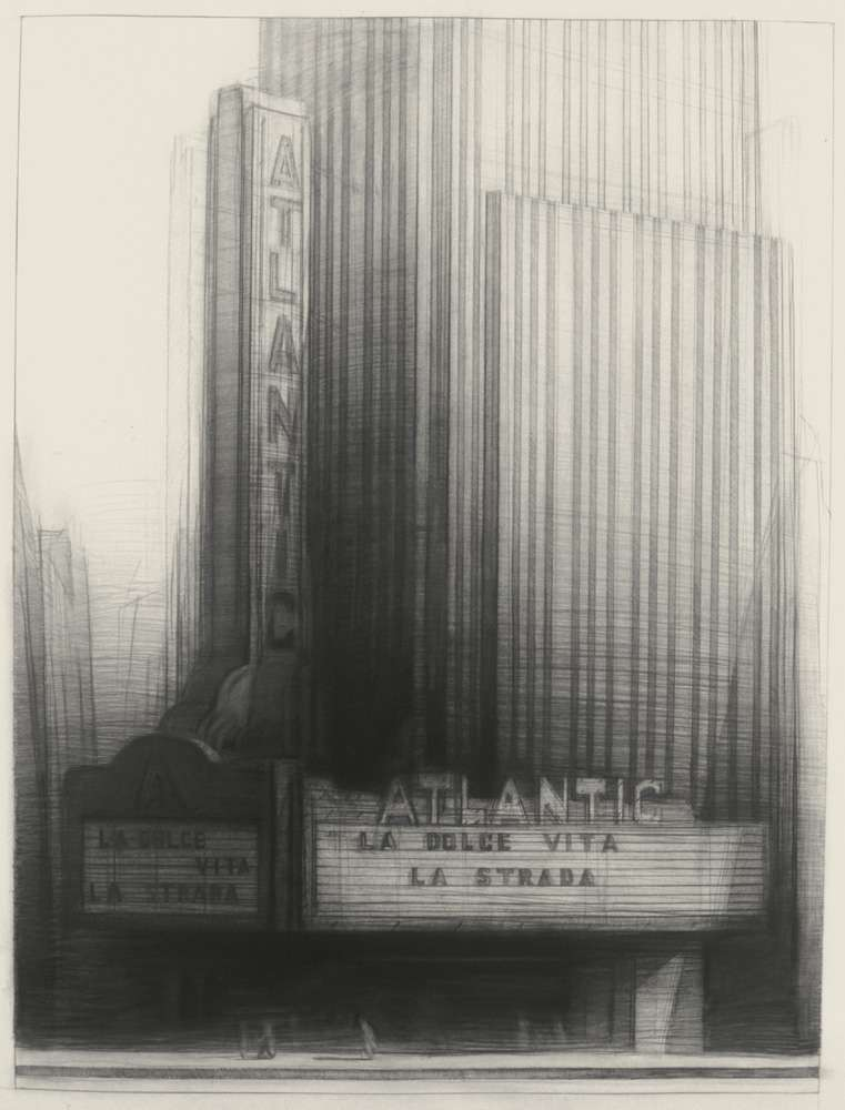 "La Dolce Vita, 45"" x 34"", charcoal on paper, 1992"
