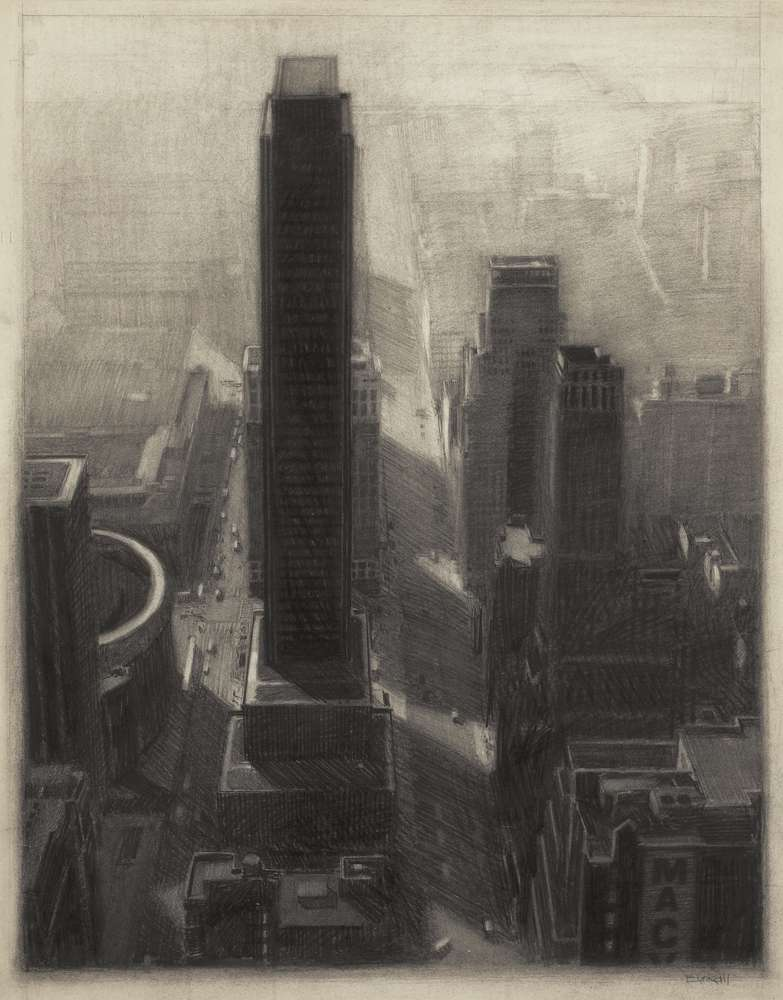 "New York Cityscape, 30"" x 23.5"", charcoal on paper, 1985"