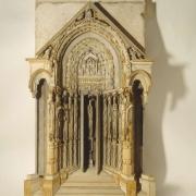 """Portal, 84"""" x 50"""" x 9"""", wood, wax, plaster, oil paint, 1988"""