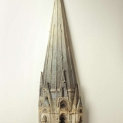 "Spire, Chartes Catherdral, 60"" x 17"" x 5"", wood, wax, plaster, oil paint, 1988"