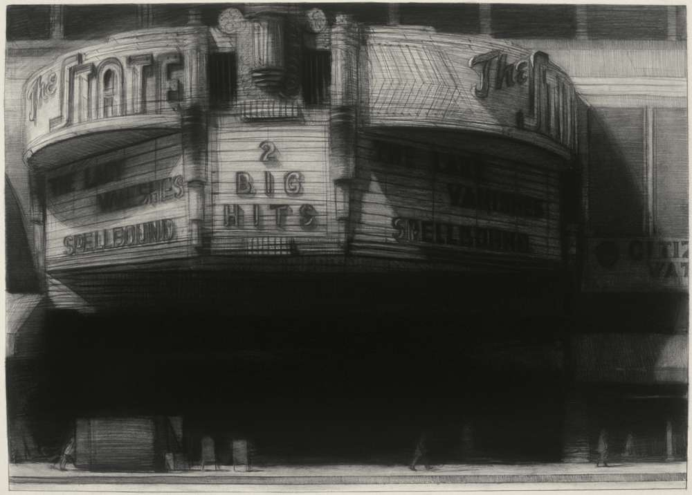 "The State Theater, 30"" x 42"", charcoal on paper, 1992"