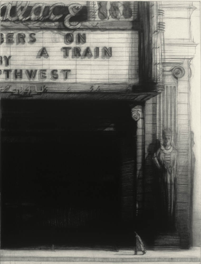 """Strangers on a Train, 40"""" x 30"""", charcoal on paper, 1992"""