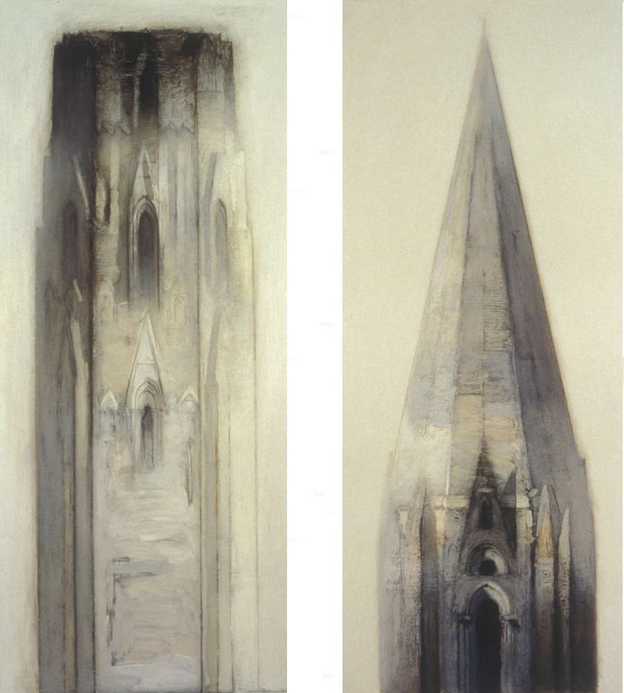 "Tower and Spire II (diptych), 56"" x 29.5"", oil on paper, 1988"